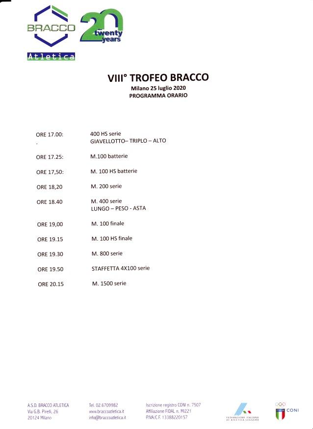 orario - TROFEO BRACCO: UN MEETING ROSA!